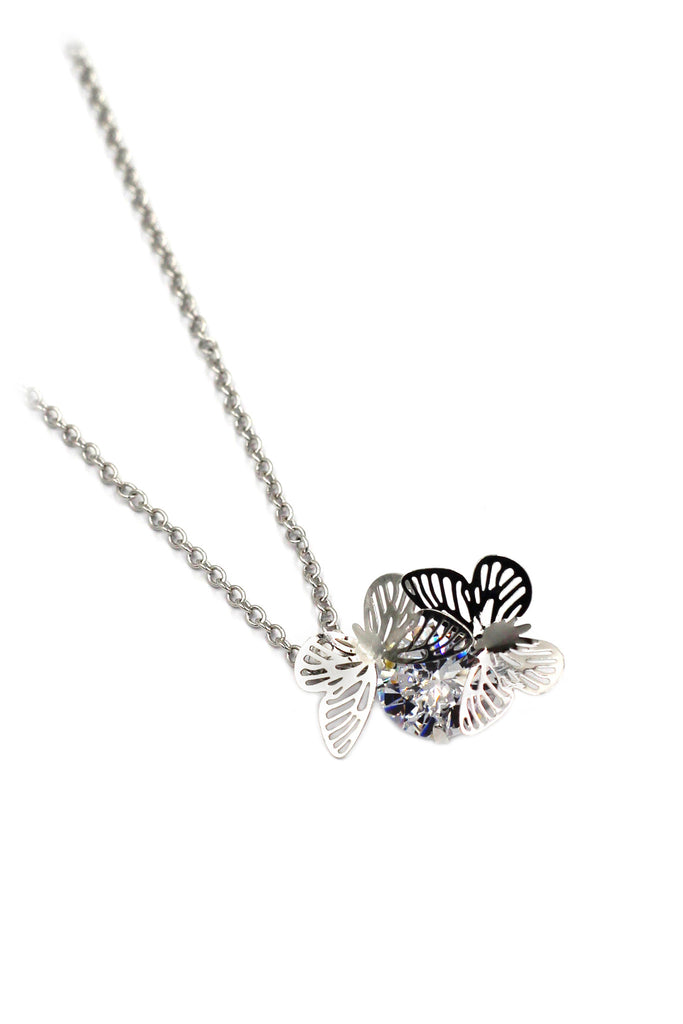 pretty butterfly crystal silver necklace