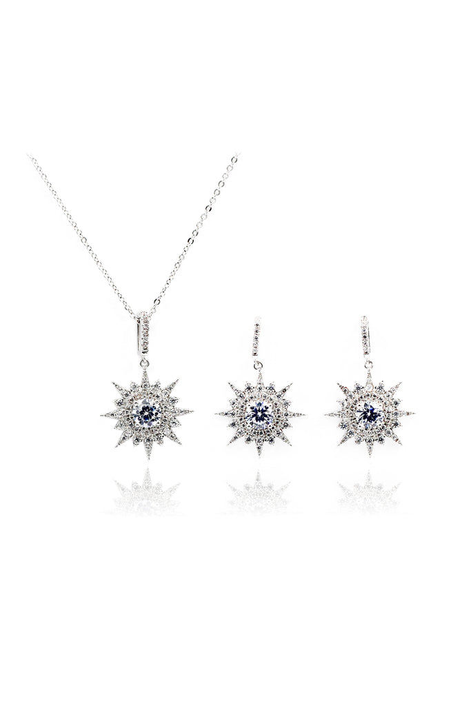 polaris earrings necklace crystal set