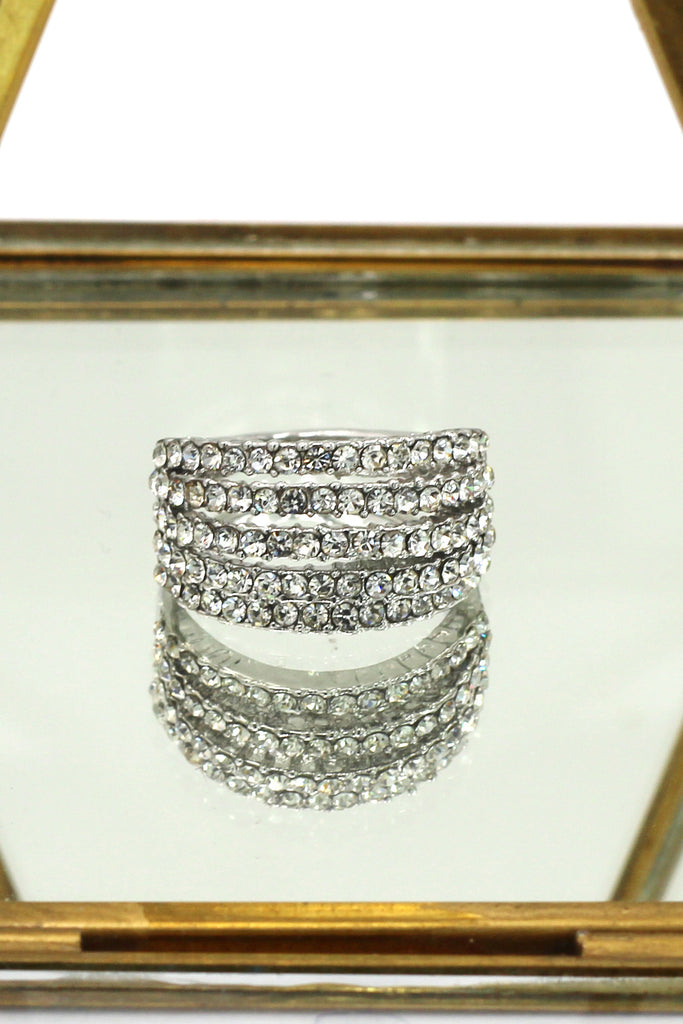 fashion micro-set crystal wide silver ring