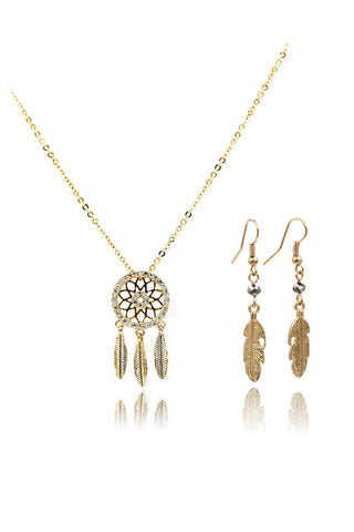 elegant flower necklace earring set