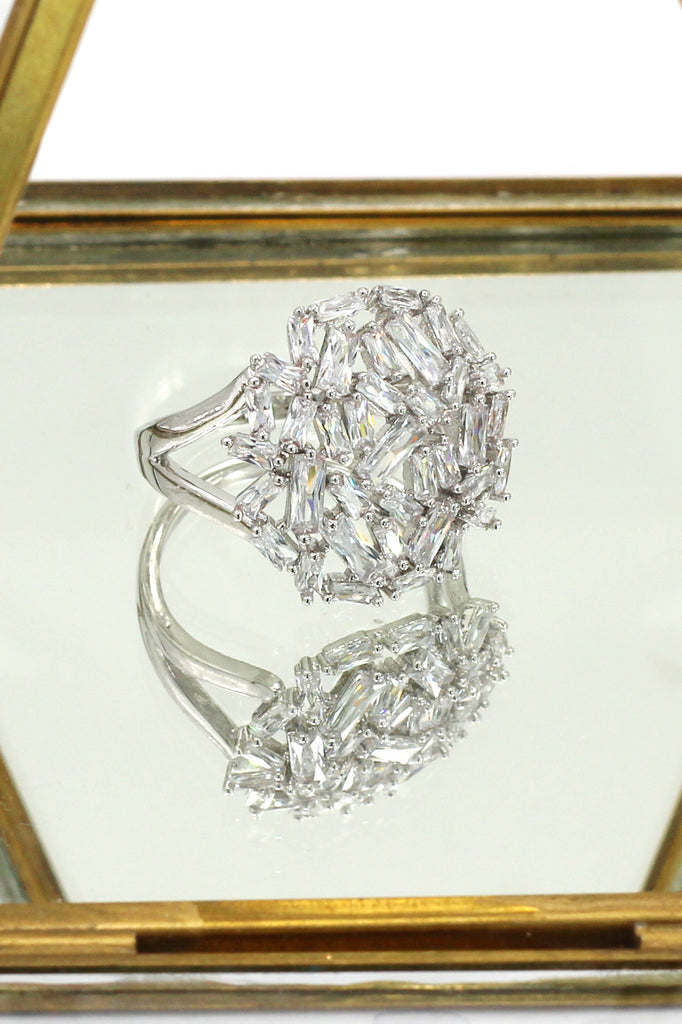 fashion small square crystal ring