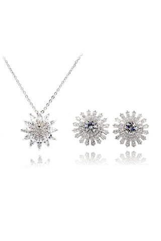 simple crystal earrings necklace set