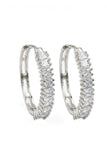 fashion big circle crystal silver earrings