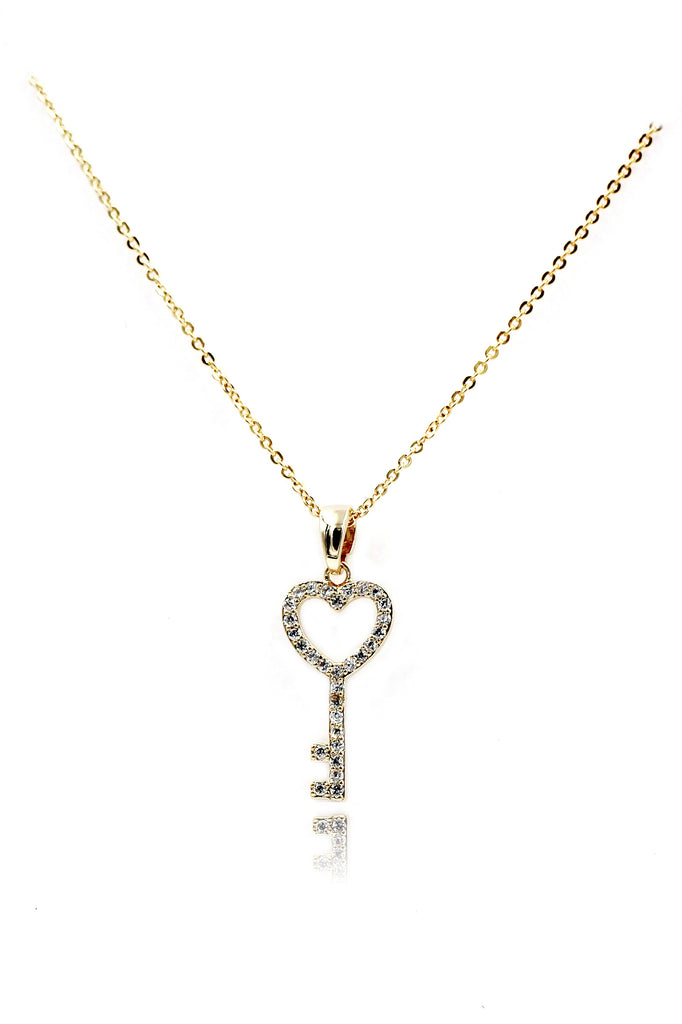 simple heart key crystal necklace