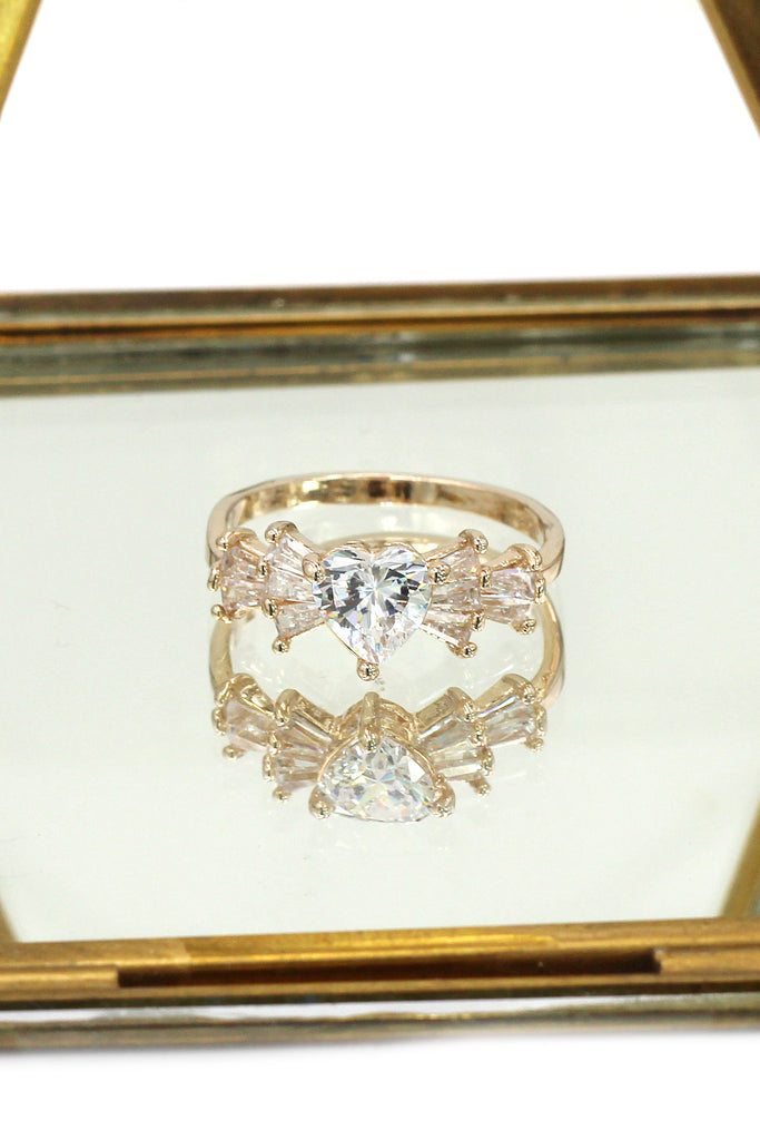 fashion lovely sweet crystal heart ring