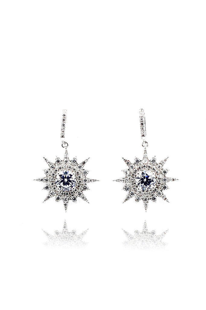 shiny star crystal earrings necklace set