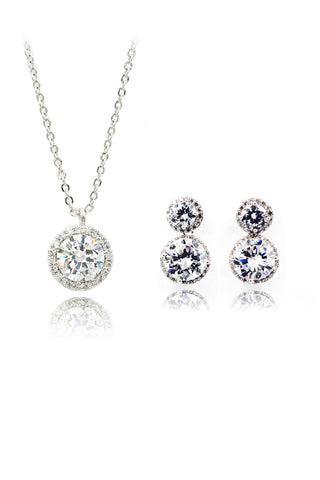 blue crystal earring necklace set