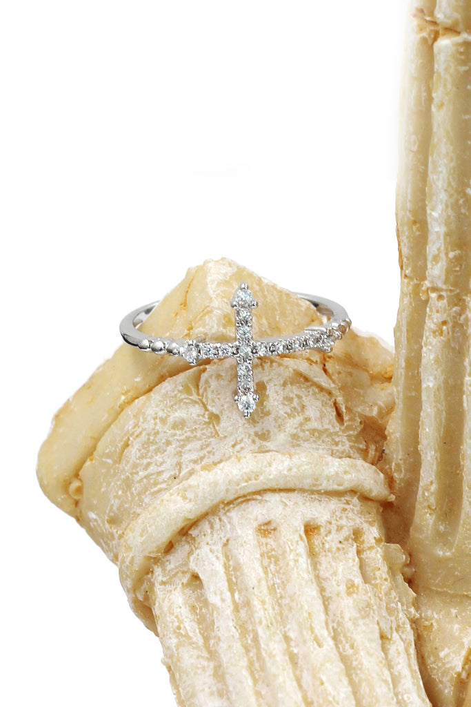 mini crystal cross ring