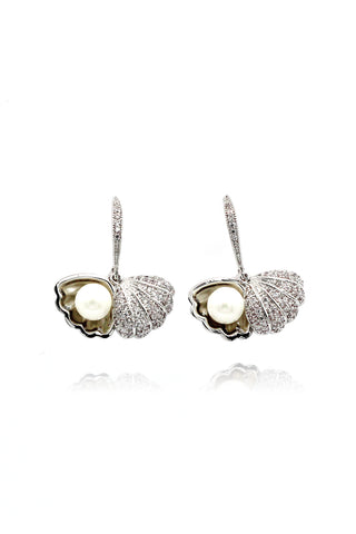 Silver u crystal earrings