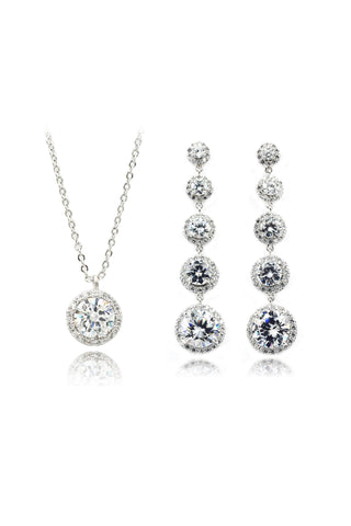 Elegant black and white crystal earrings necklace set
