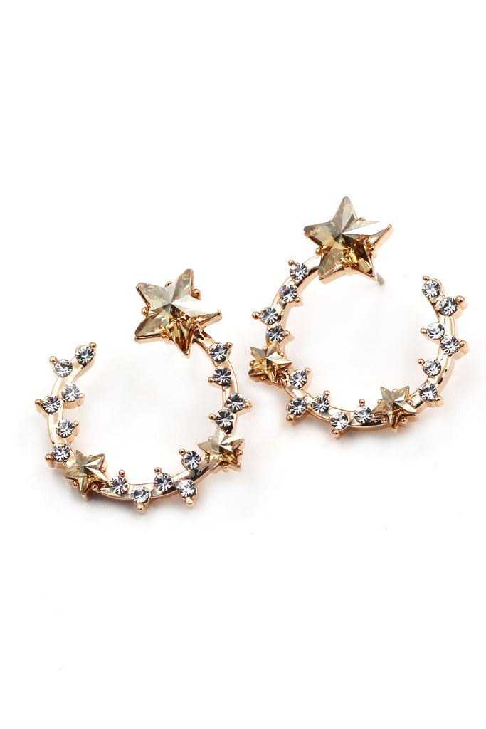 Elegant gold ring crystal earrings