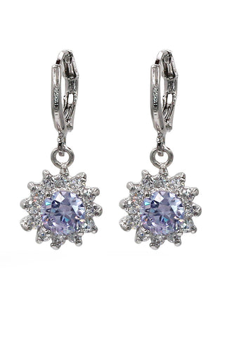 lovely crystal skirt silver earrings