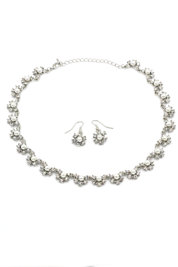 classic crystal and pearl necklace earrings set