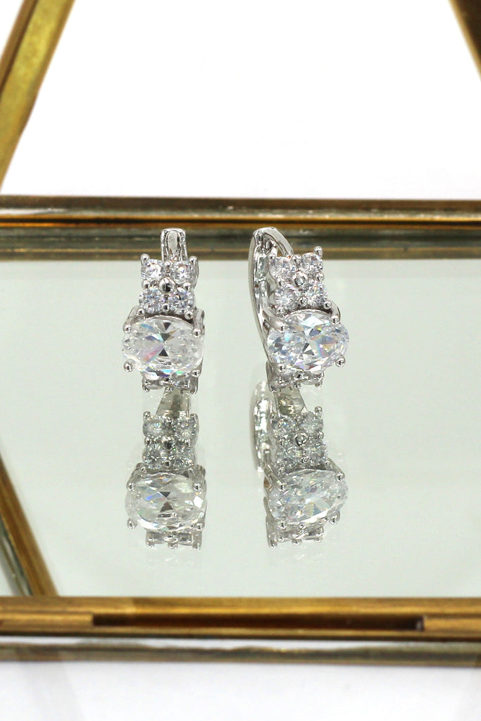 noble oval crystal silver earrings
