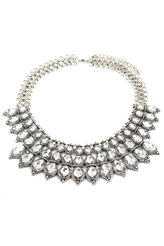 elegant full white crystal silver necklace earrings set