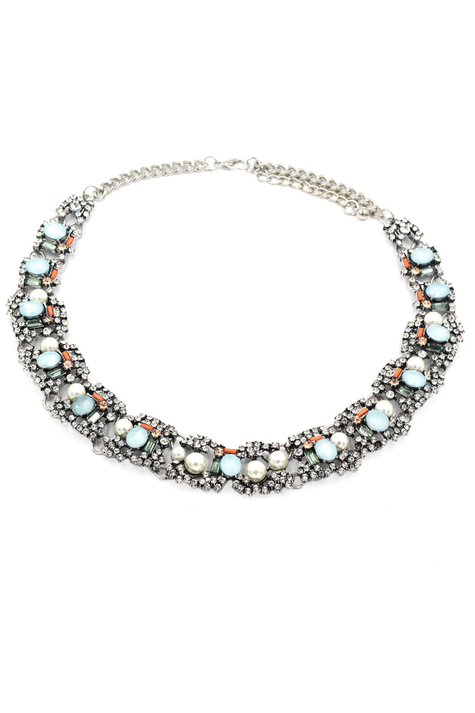 multiple colorful crystal pearl side necklace