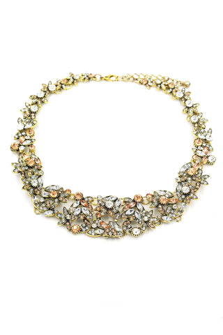 Ethnic traditional pearl and crystal necklace