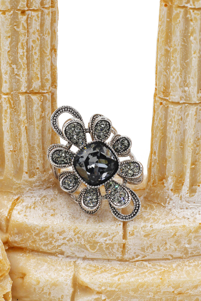 silver gray crystal flower ring