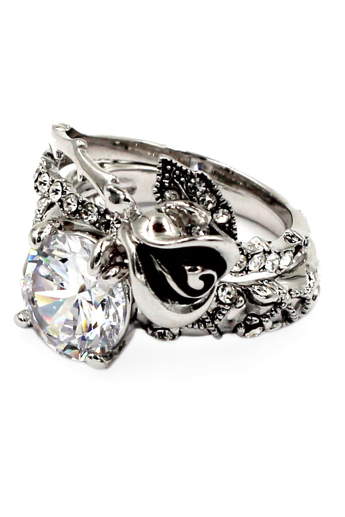 black rose and crystal double silver ring