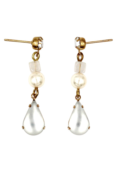 fashion white water drop pendant pearl earrings