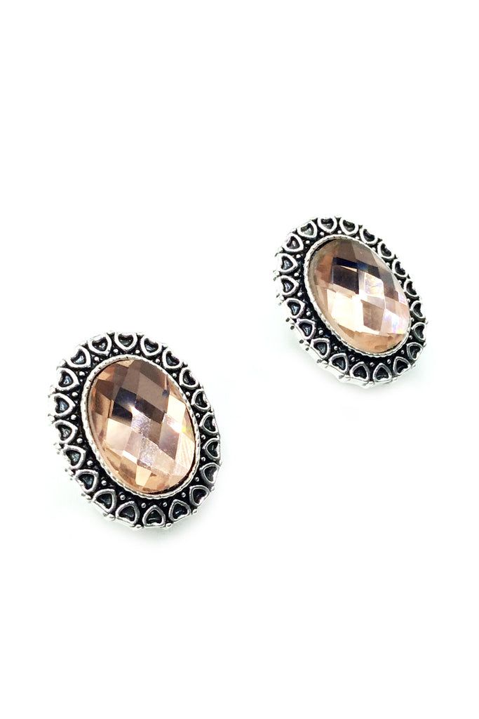 Traditional Oval stone Earrings