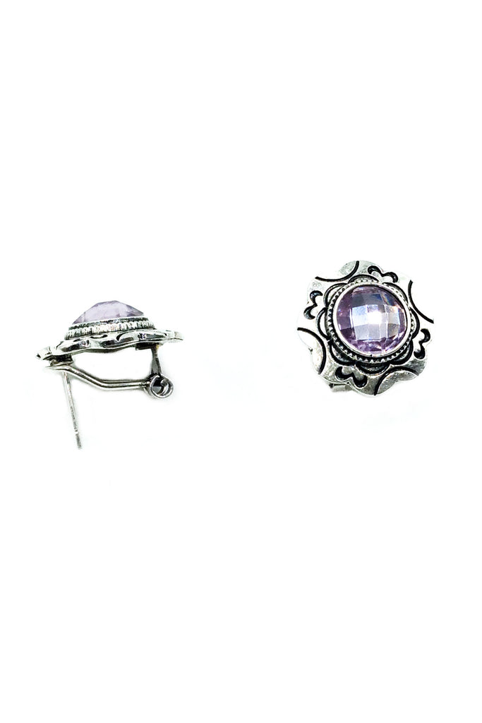Purple Circle Crystal earrings