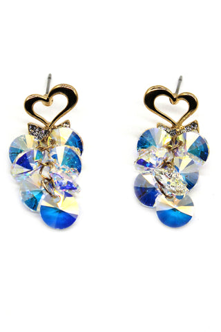 Shiny elegant bow crystal earrings