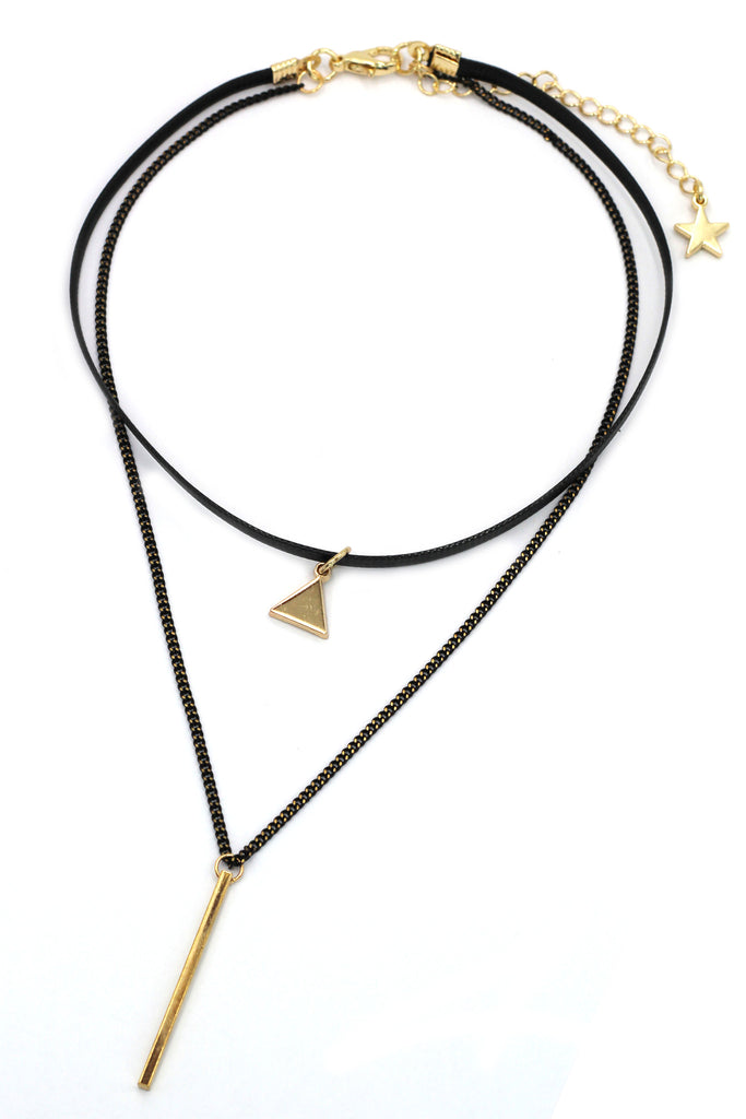 fashion double-chain triangle pendant choker