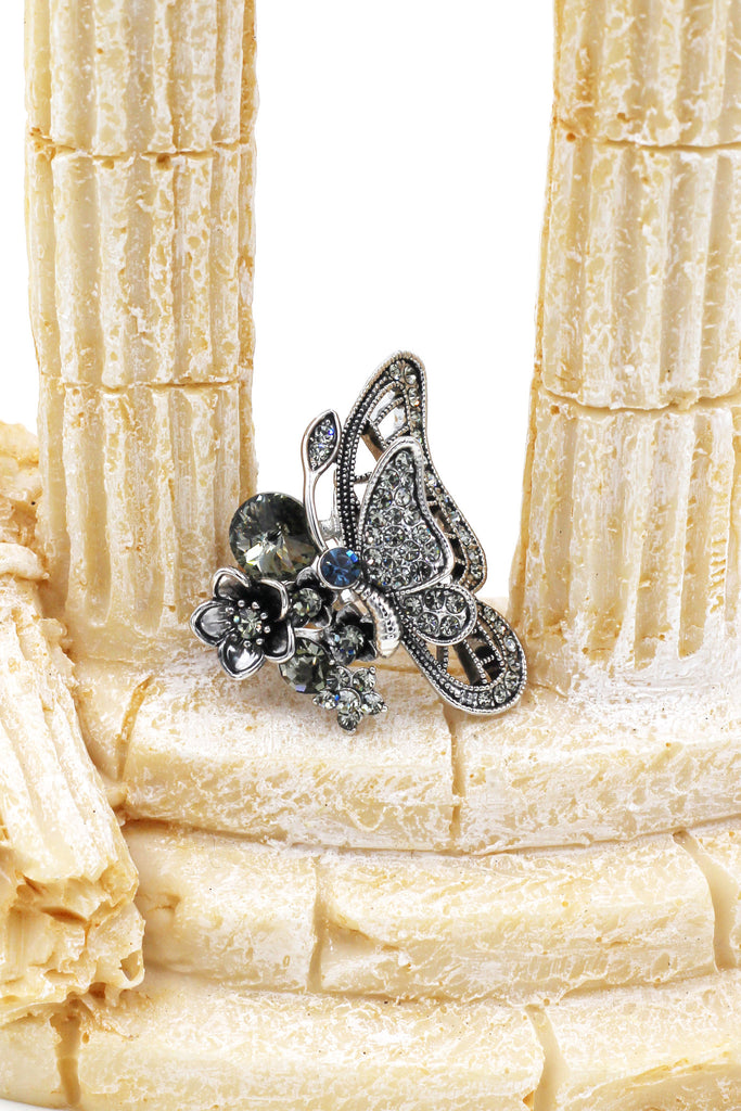 hemiptera butterfly and flower crystal silver ring