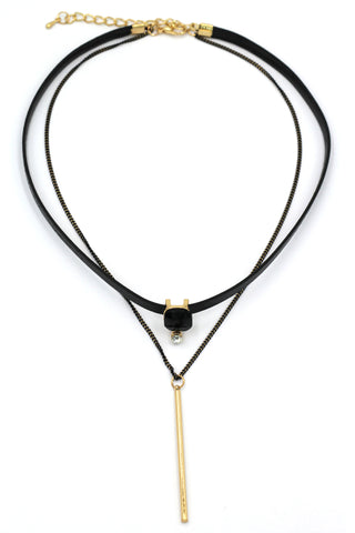 fashion double-chain circle pendant choker