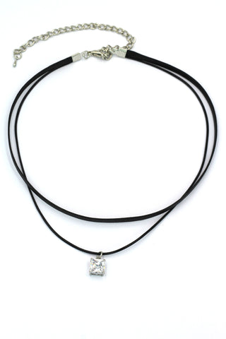 fashion double-chain pendant square crystal choker