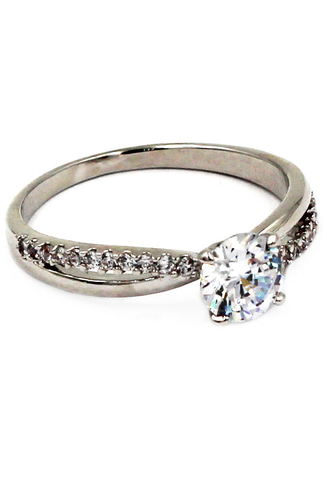 charming diamond silver ring