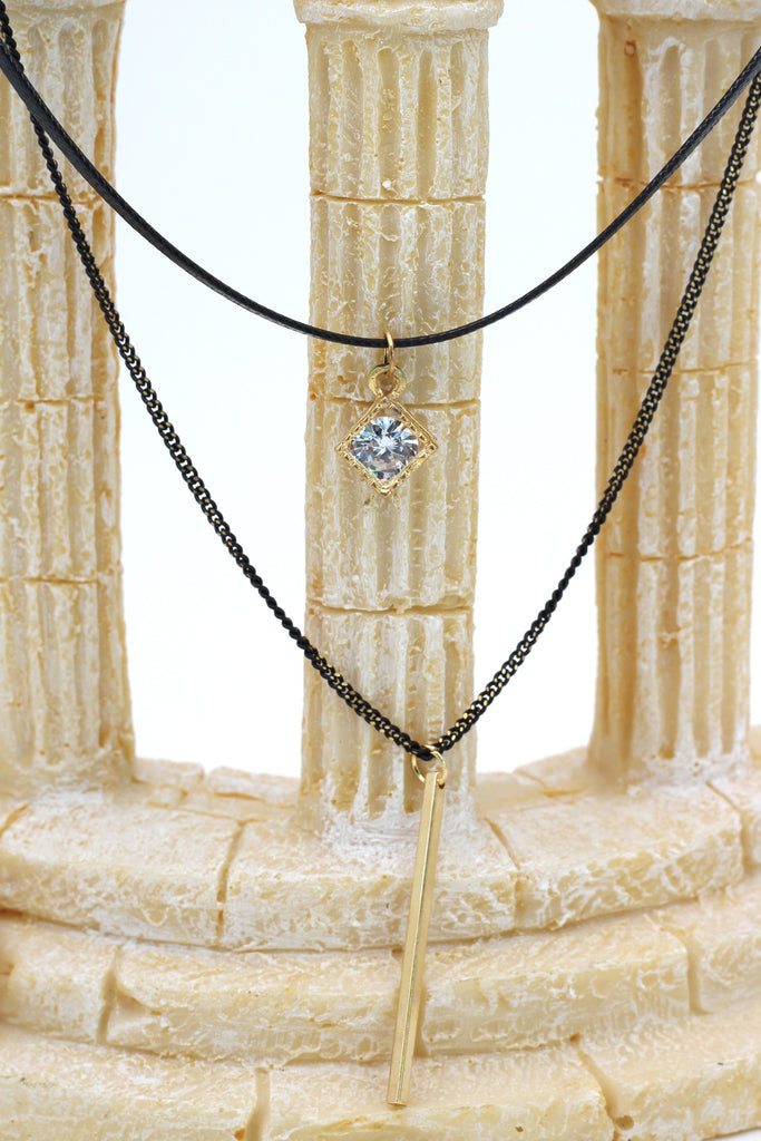 fashion double-chain crystal frame pendant choker