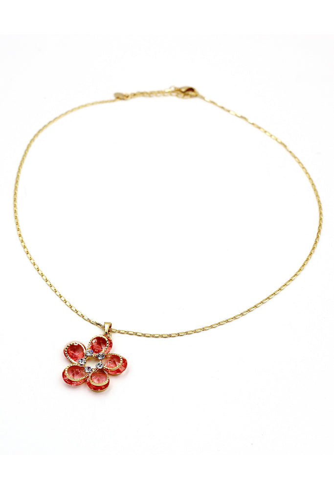 Flower crystal Gold necklace