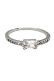 simple sidelong crystal rose gold ring