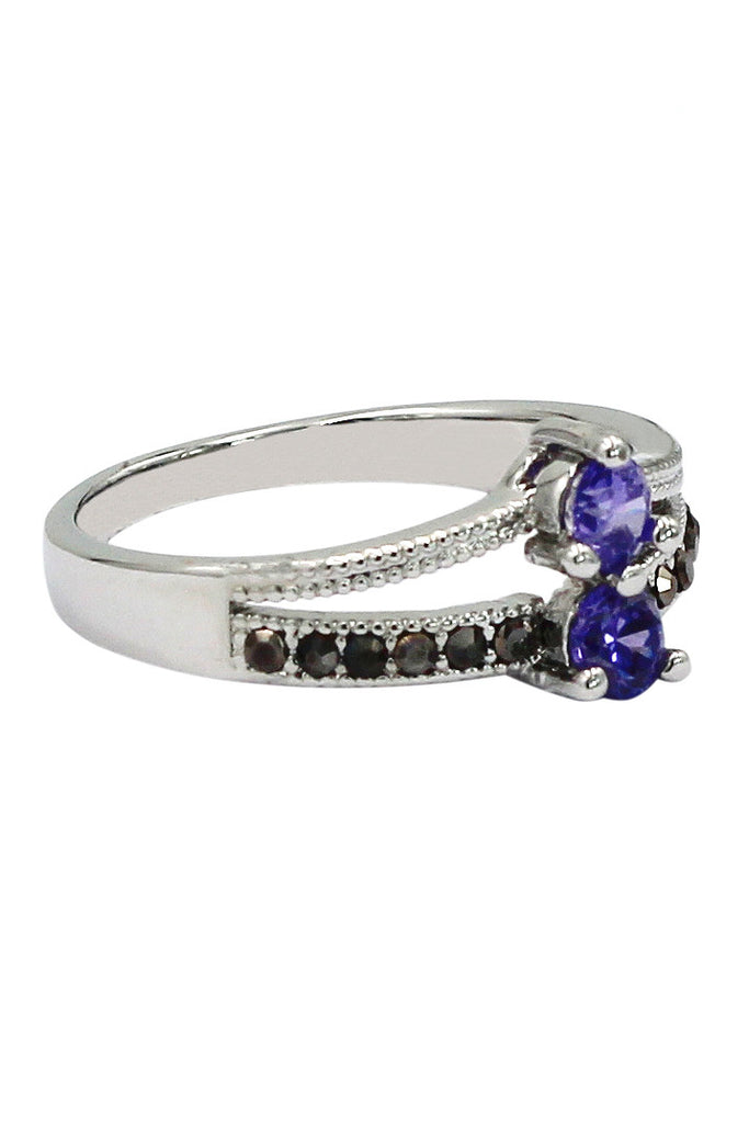 colourful small crystal silver ring