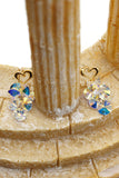 sweety heart pendant swarovski crystal earrings