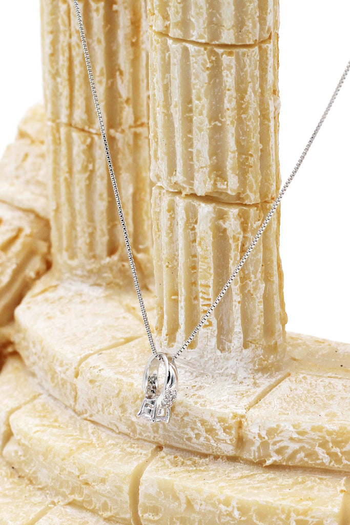 mini ring crystal silver necklace