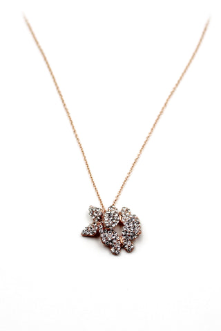 golden mini cross crystal necklace