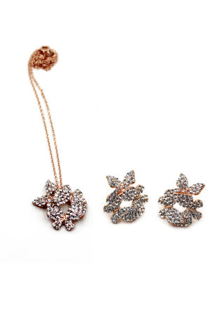 rose gold flower ring earring set