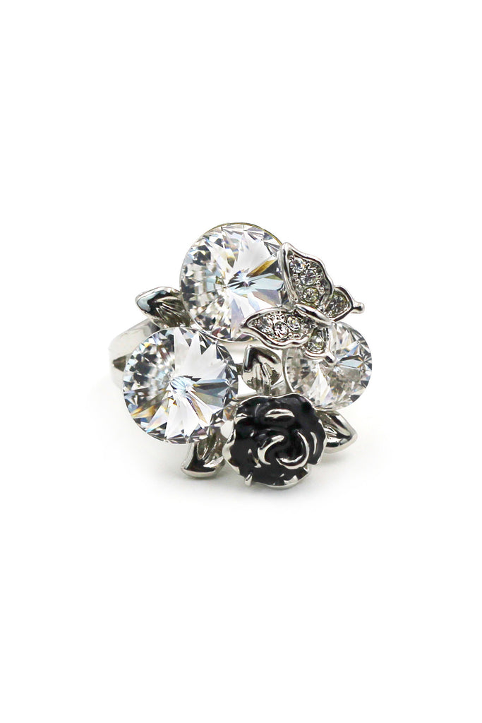 Rose white crystal silver ring
