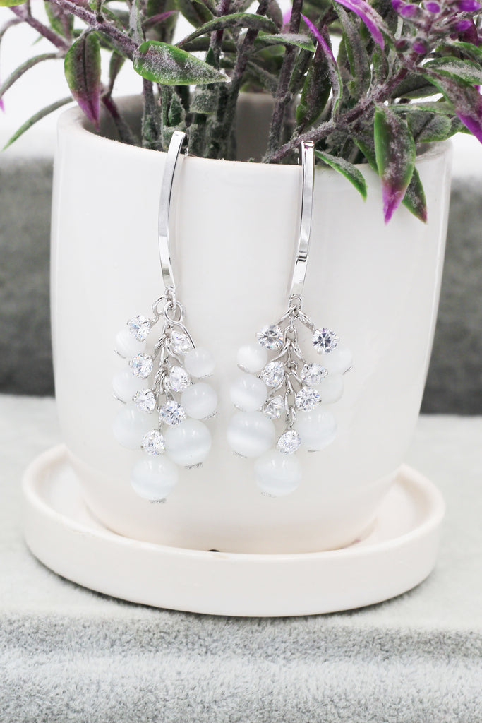 elegant cat's eye drop earrings