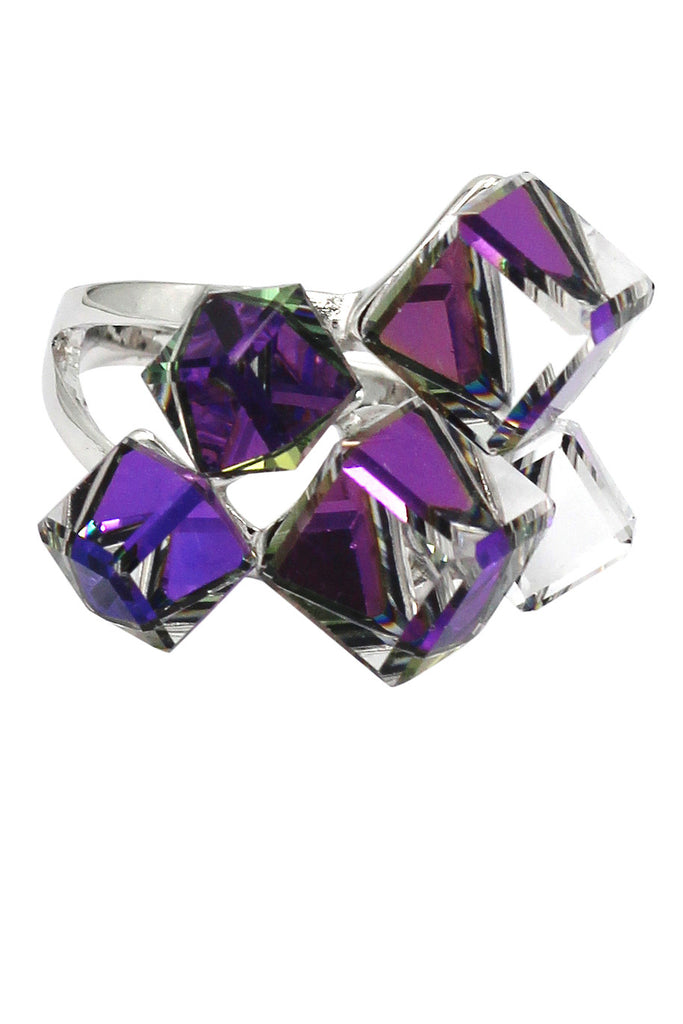 square candy crystal silver ring