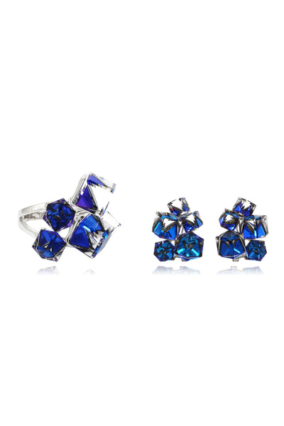 blue crystal ring earrings set