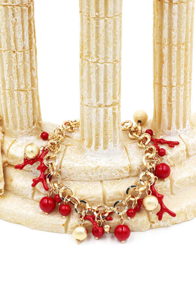 fashion red matches golden bracelet