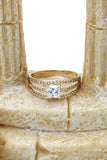 fashion square middle crystal gold ring