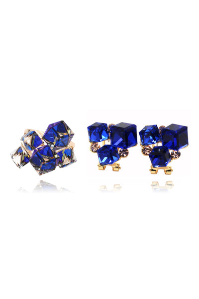 blue square ring earrings set