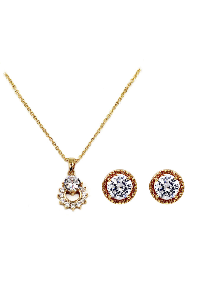 round small crystal earrings necklace set