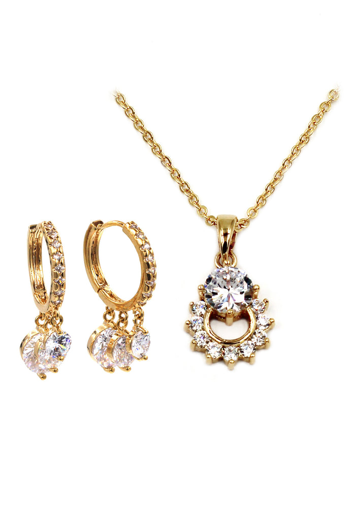 luxury crystal gold necklace earrings set