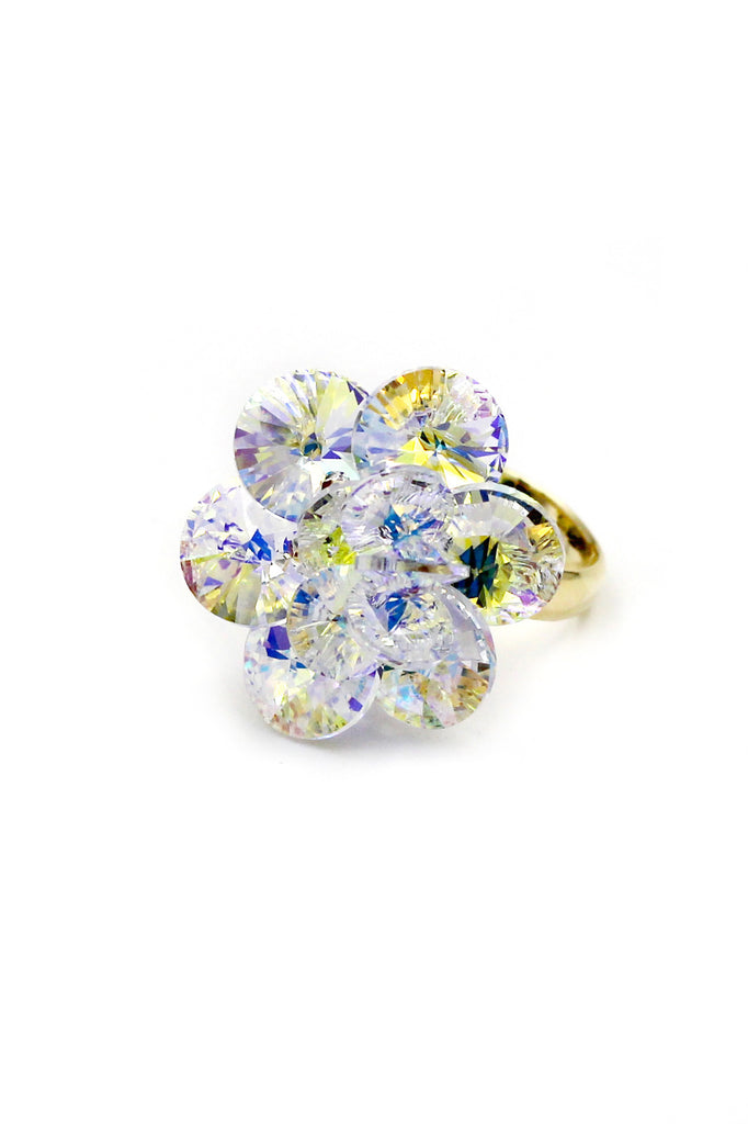 Yellow Crystal Flower Gold Ring